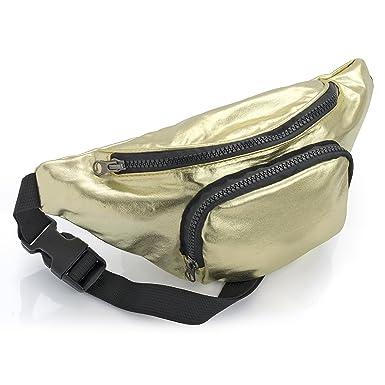 af391f7af9e Bum Bag fanny Pack Festival Money Waist Pouch Travel Canvas Belt Grunge  Neon (Metallic Gold): Amazon.co.uk: Clothing