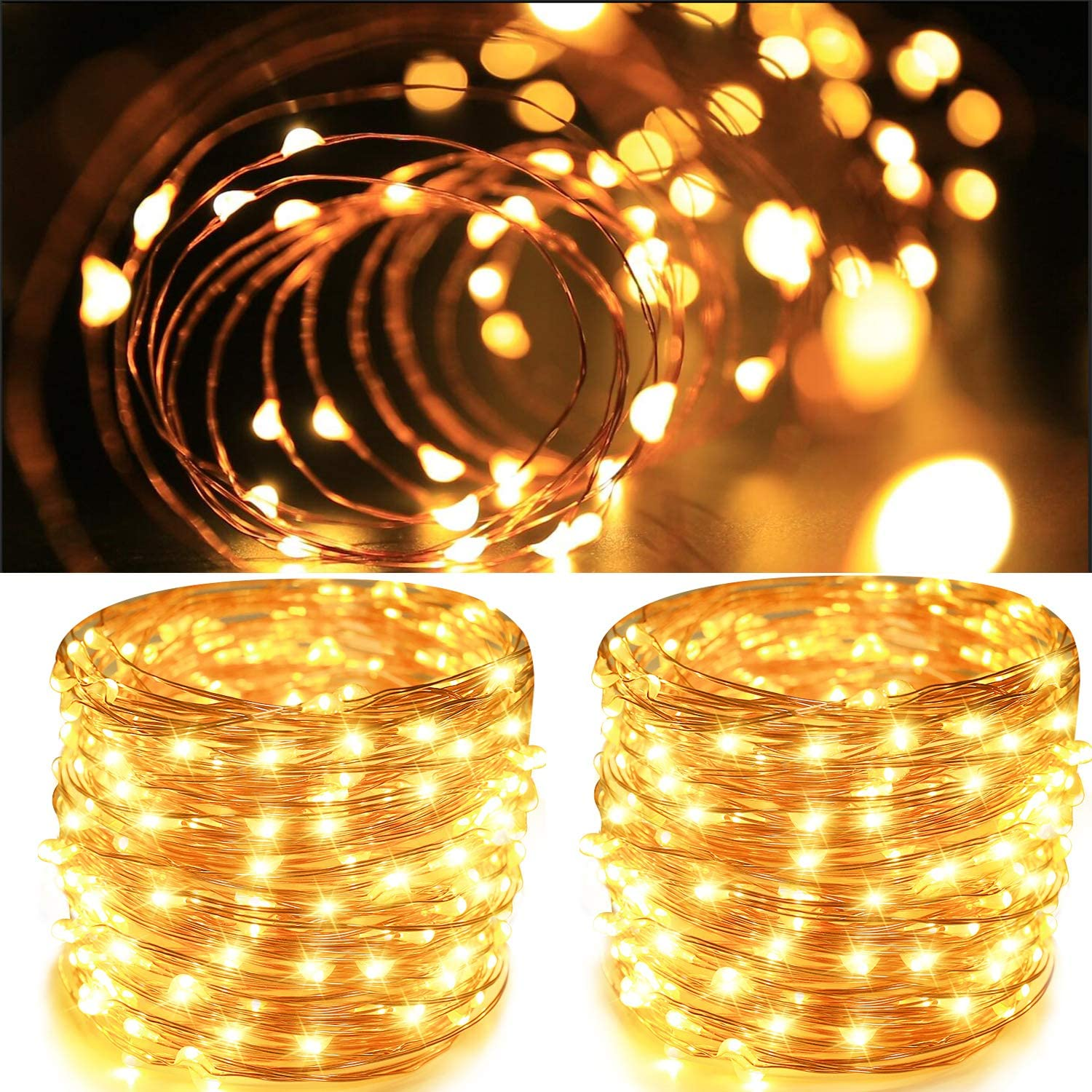 Aluan Fairy Lights 2 Pack 100 LED 33 FT Copper Wire Christmas Lights USB & Battery Powered Waterproof LED String Lights with 8 Modes for Indoor Outdoor Bedroom Wedding Party Patio Decor, Warm White