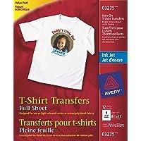 Avery T-Shirt Transfers, For Use on Light Fabrics, Inkjet Printers, 12 Full-Sheet Paper Transfers (03275), White…