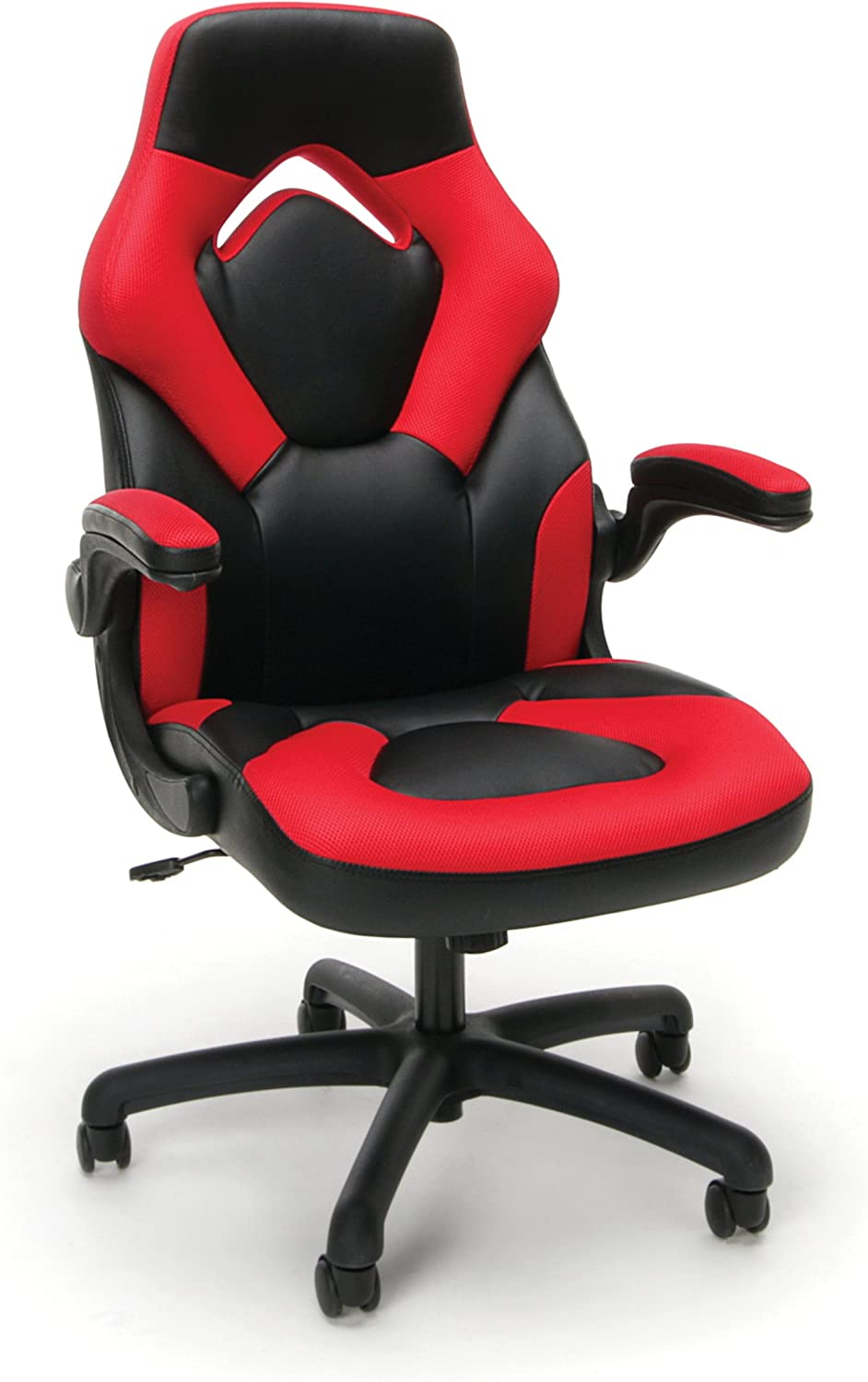 Essentials Racing Style Leather Gaming Chair - Ergonomic Swivel Computer, Office or Gaming Chair, Red (ESS-3085-RED)
