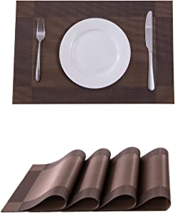 Placemats,Placemats for Dining Table,Heat-Resistant Placemats, Stain Resistant Washable PVC Table Mats,Kitchen Table mats (4, Brown)