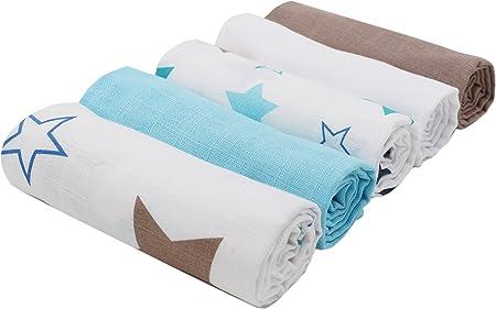 Zollner 5 muselinas para bebé de algodón, 70x70 cm, certificado Oekotex