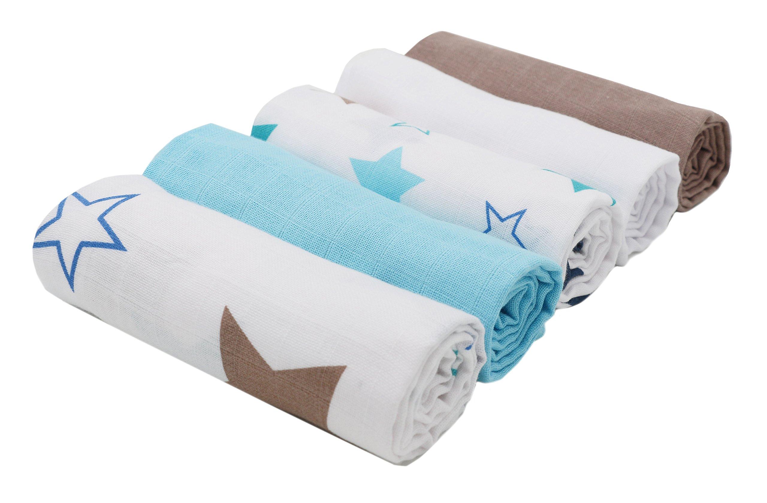 Zollner 5 muselinas para bebé, algodón, 70x70 cm, con estampado de estrellas y