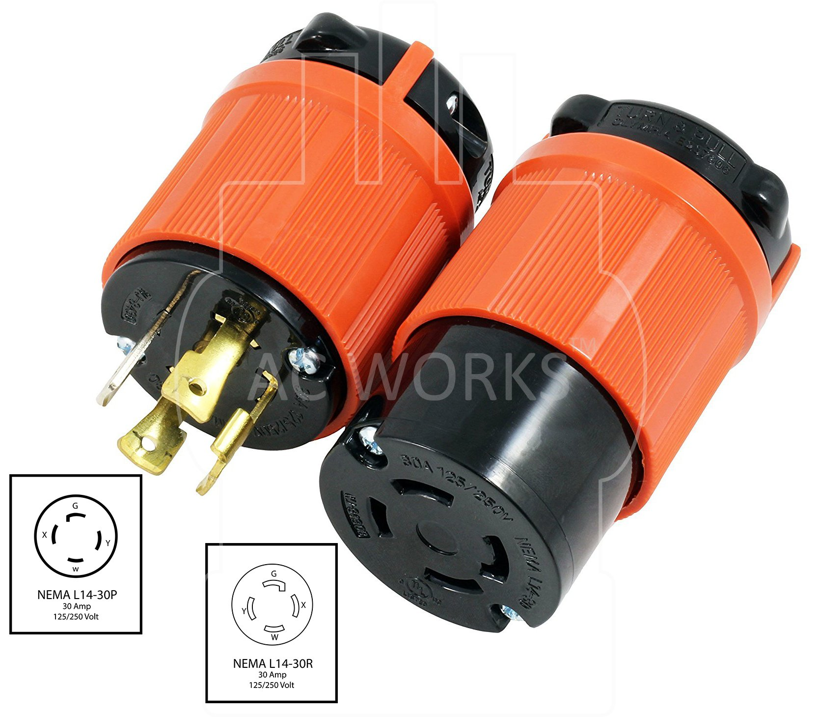 AC WORKS [ASL1430PR] NEMA L14-30 30Amp 125/250Volt 4Prong Locking Male Plug and Female Connector With UL, C-UL Approval by AC WORKS (Image #2)