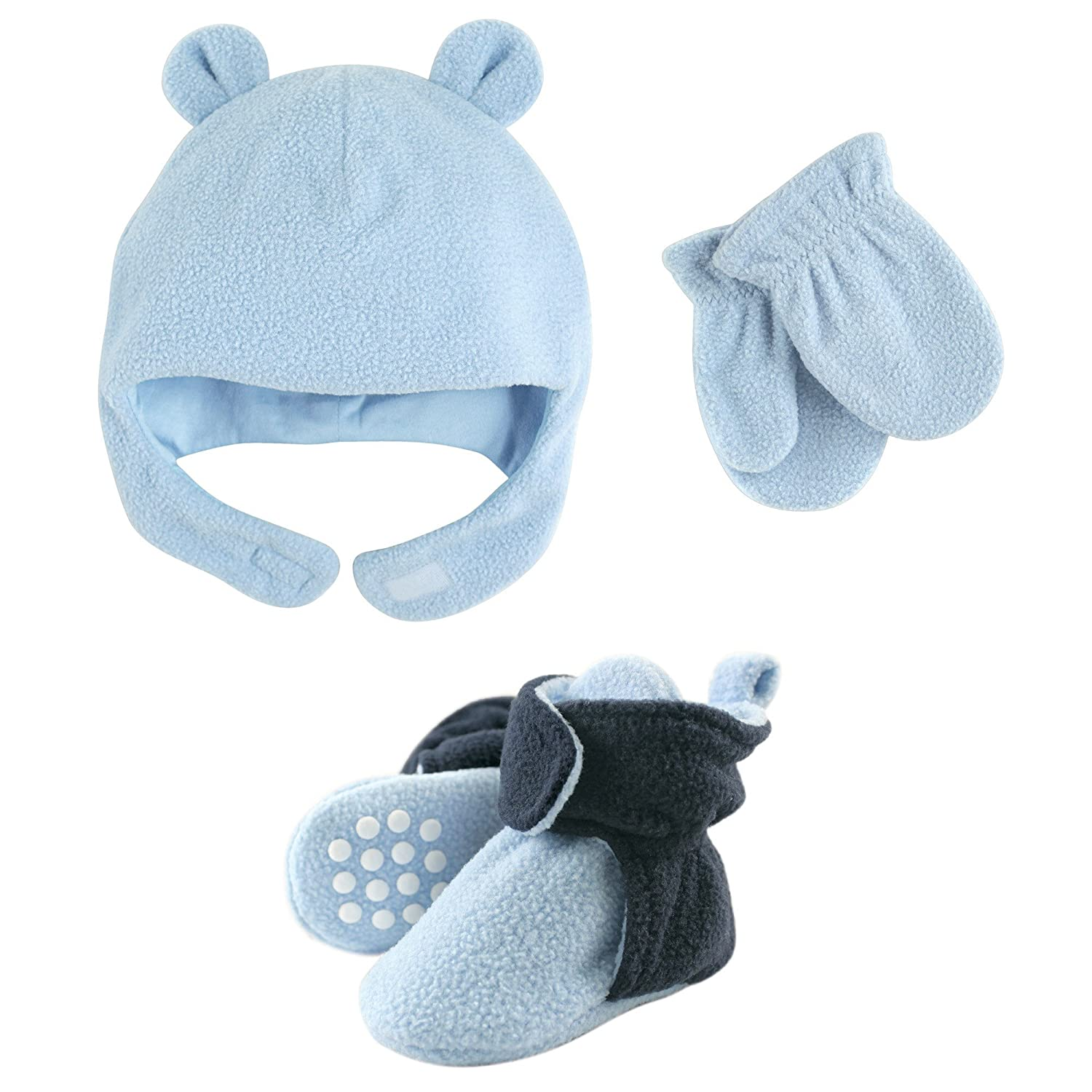 13b794064 Luvable Friends Fleece Winter Hat, Mittens and Booties Set