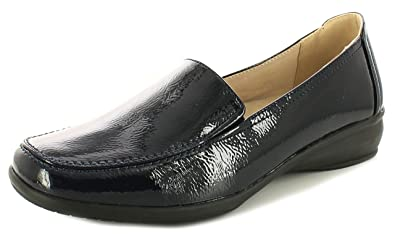 6b327df003f Ever So Soft Womens Ladies Navy Patent Loafer Style Casual Shoes - Navy  Patent -