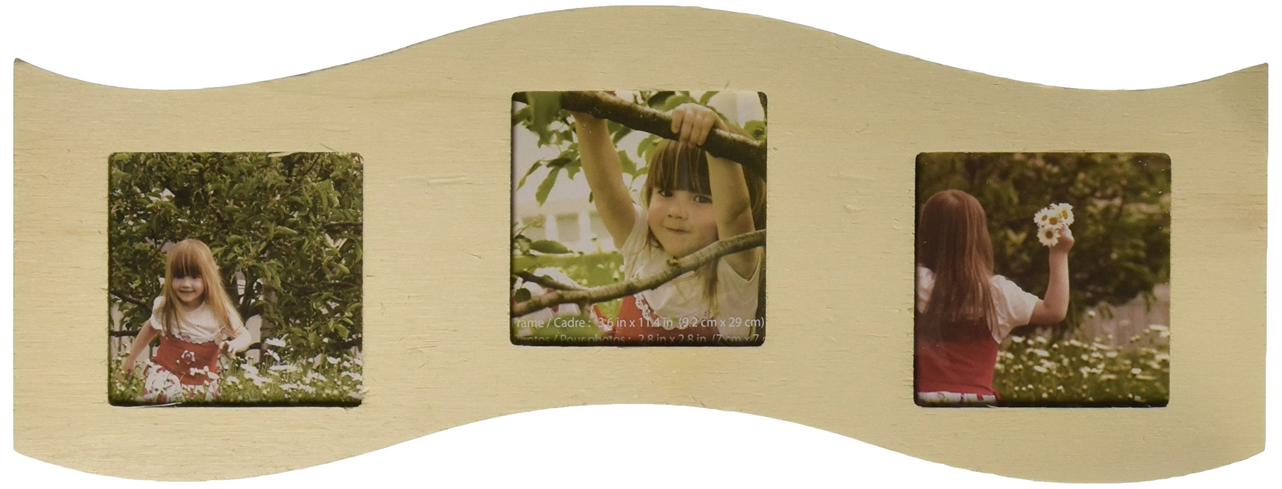 Multicraft Imports Three Window Photo Frame, 4.25-Inch by 11.5-Inch