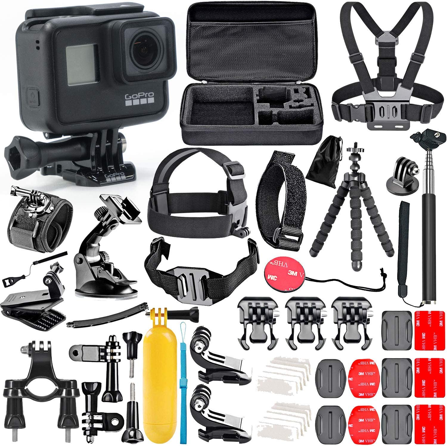 GoPro Hero 10 Black with 10 Piece Action Accessory Kit - Straps - Harnesses  - Mounts - Adapters All-in-One Bundle