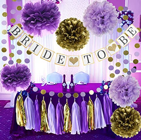 Purple And Gold Wedding.Bridal Shower Decorations Purple Gold Qian S Party Purple Bride To Be Banner Glitter Gold Tissue Paper Pom Pom Bridal Shower Wedding