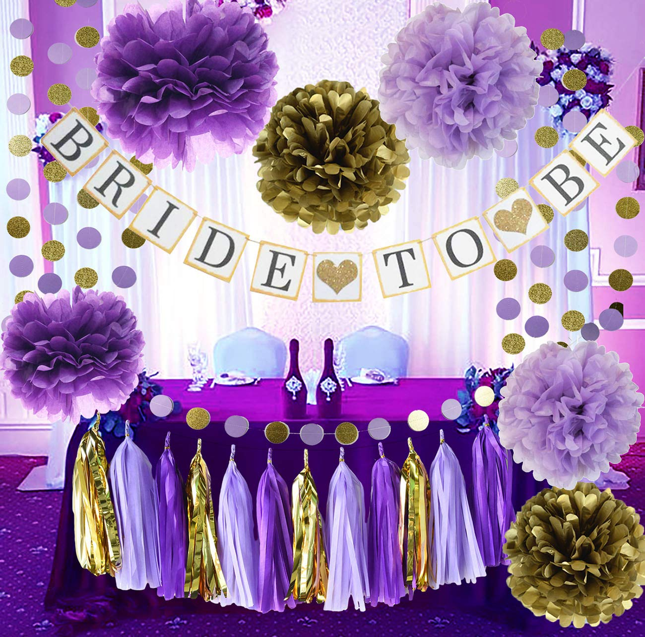 Bridal Shower Decorations Purple Gold Qian's Party Purple Bride To Be Banner Glitter Gold Tissue Paper Pom Pom Bridal Shower Wedding Supplies/Bachelorette Party Decorations