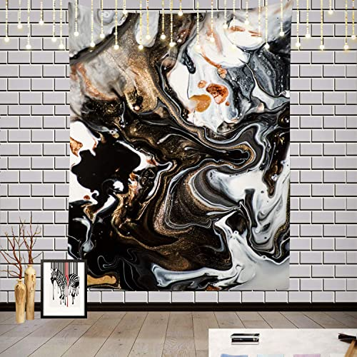 Batmerry Abstract Modern Marble Tapestry, Modern Black and White Marble Pattern Picnic Mat Hippie Trippy Tapestry Wall Art Decor for Bedroom Living Room, 82.7 x 59.1 Inches, Black White Gold