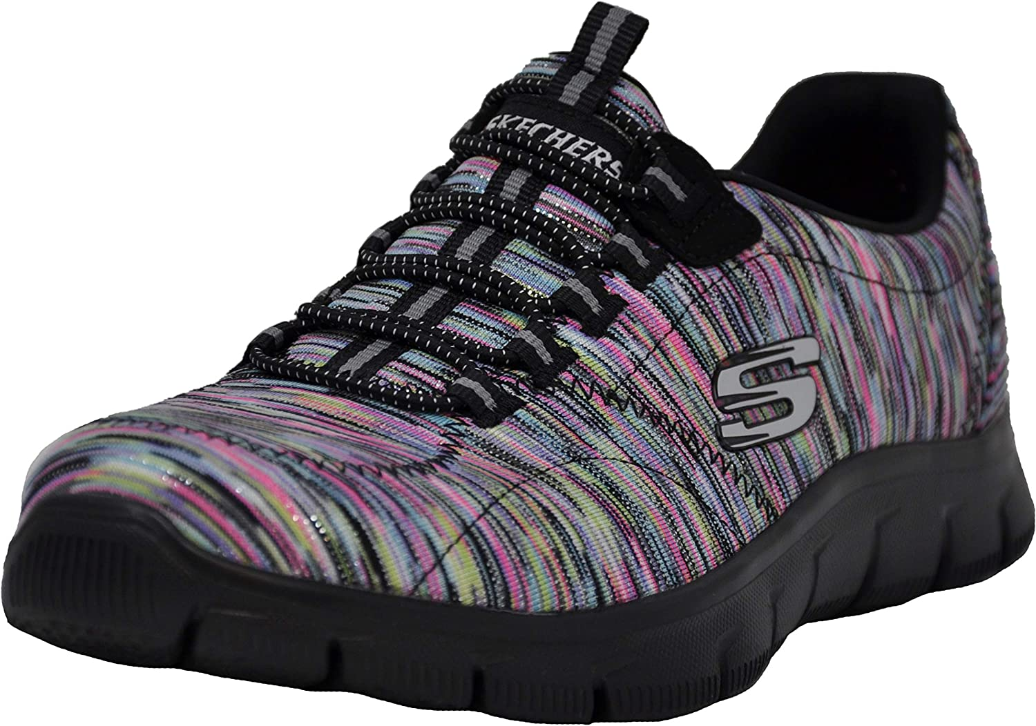 Ladies Skechers 12407 Empire Take Charge Black Slip On Trainers