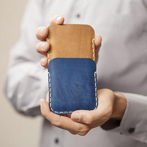 Café claro y Azul Estuche Billetera Funda De Cuero para Huawei P10 Lite con bolsillos para tarjetas de crédito. Estuche de manga. Cosido a mano.: Amazon.es: Handmade