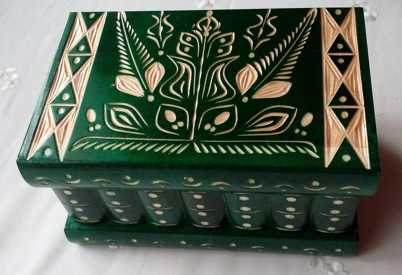 Grande verde bella mano intagliato scatola di legno di puzzle, scatola segreta, scatola magica, contenitore di monili, rompicapo, scatola di immagazzinaggio, scatola designe fiore , decorazioni per la casa tesoro