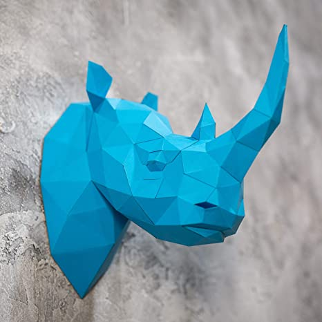 Amazon com: Live Origami Rhino Head 3D Puzzle Paper Models