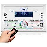 Pyle Bluetooth Marine Radio Receiver - 300W Double DIN Boat Marine Head Unit Amplifier System w/Digital LCD, Mic, Hands-Free