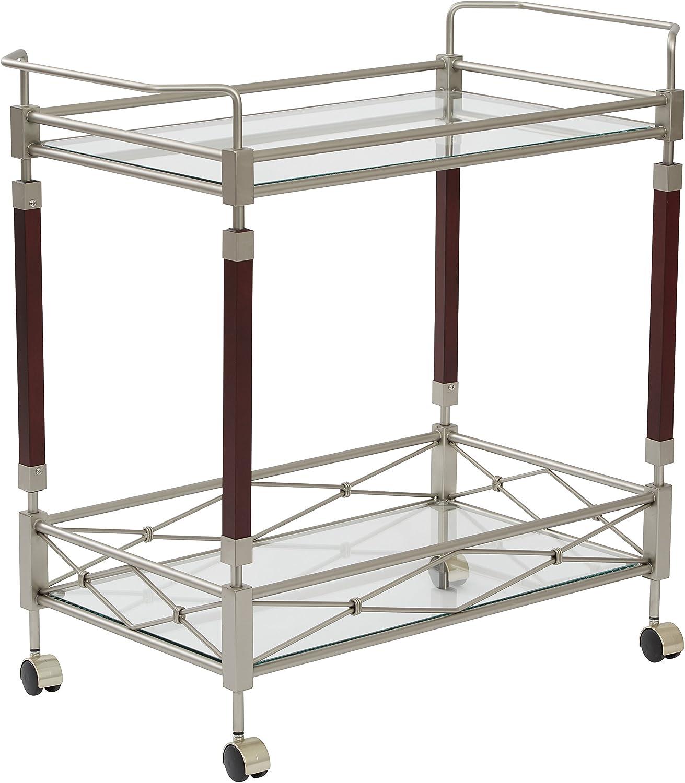 OSP Designs Melrose Serving Cart, Nickel Brush Metal Walnut Finish Wood