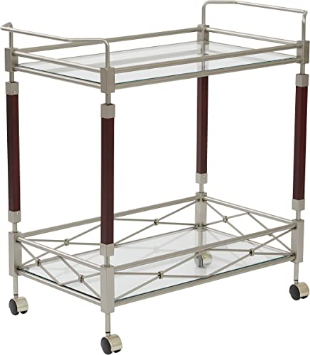 OSP Designs Melrose Serving Cart, Nickel Brush Metal Walnut Finish Wood
