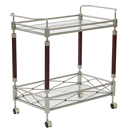 OSP Designs MLR37-NB-osp Melrose Serving Cart, Nickel Brush Metal Walnut Finish Wood