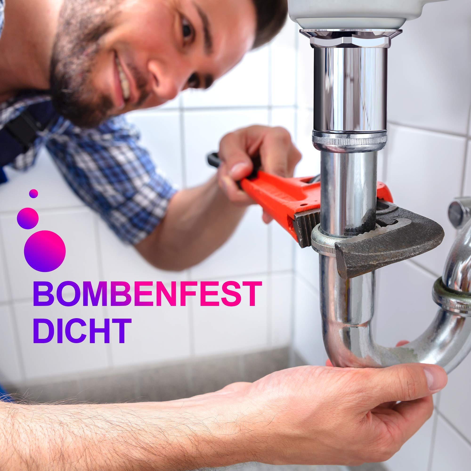 Premium Waschbecken Abflussgarnitur mit Überlauf - für Waschbecken & Waschtisch, Chrom Pop Up Ventil, Universal Ablaufventil Ablaufgarnitur aus Messing - Einbau mit Anleitung ohne Werkzeug