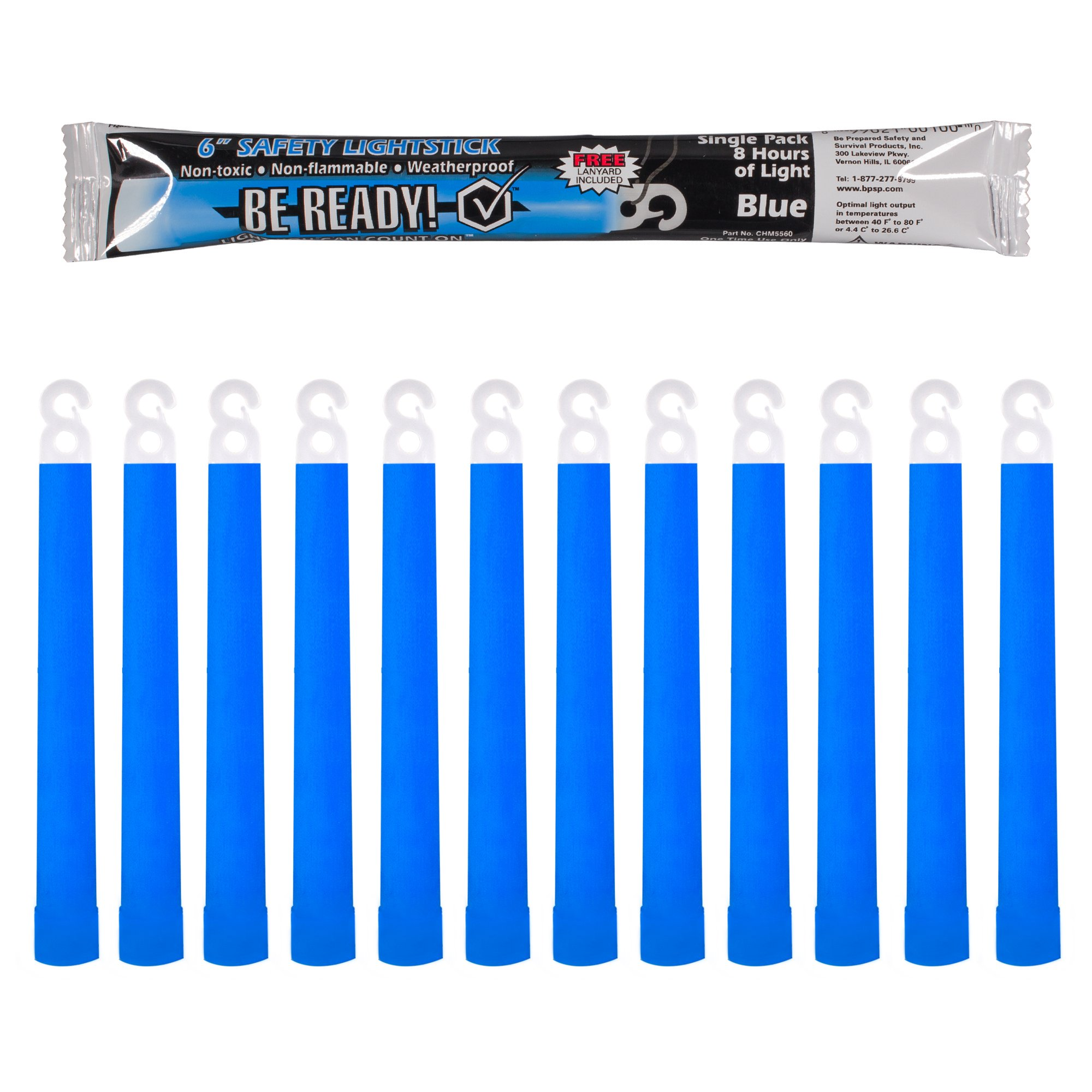 Be Ready Blue Glow Sticks - Industrial Grade 8+ Hours Illumination Emergency Safety Chemical Light Glow Sticks (24 Pack)