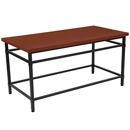 Flash Furniture Granada Hills Collection Norway Cherry Inlaid Wood Grain  Finish Coffee Table With Black Metal