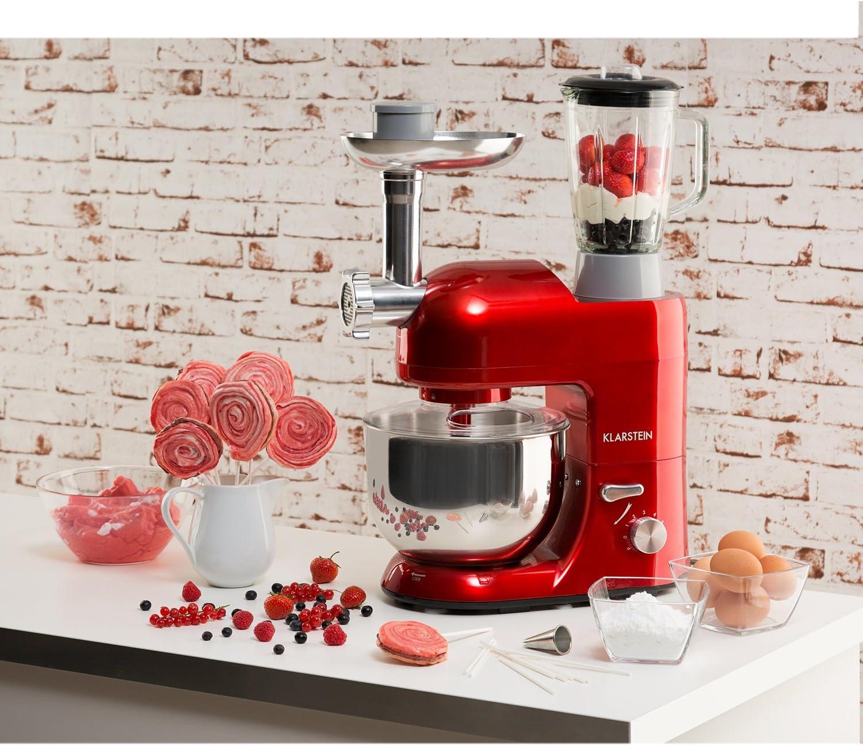 KLARSTEIN Lucia Rossa Kitchen Machine Multi-function Stand Mixer 650 Watts 5.3 qt Bowl 1.3 qt Mixing Glass Meat Grinder Pasta Maker Blender Red
