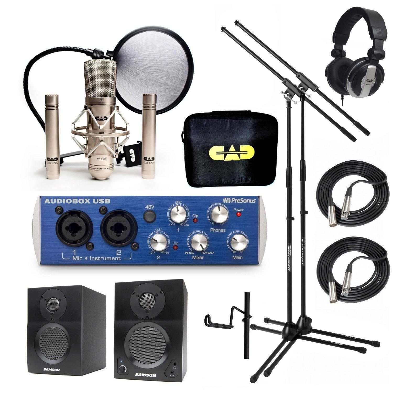 Home Recording Studio Bundle CAD GXL2200SSP MH110 Stands PreSonus AudioBox USB Samson Media ONE BT3 Speakers by CAD