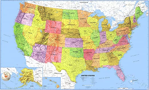 Southcentral United States Executive City County Wall Map