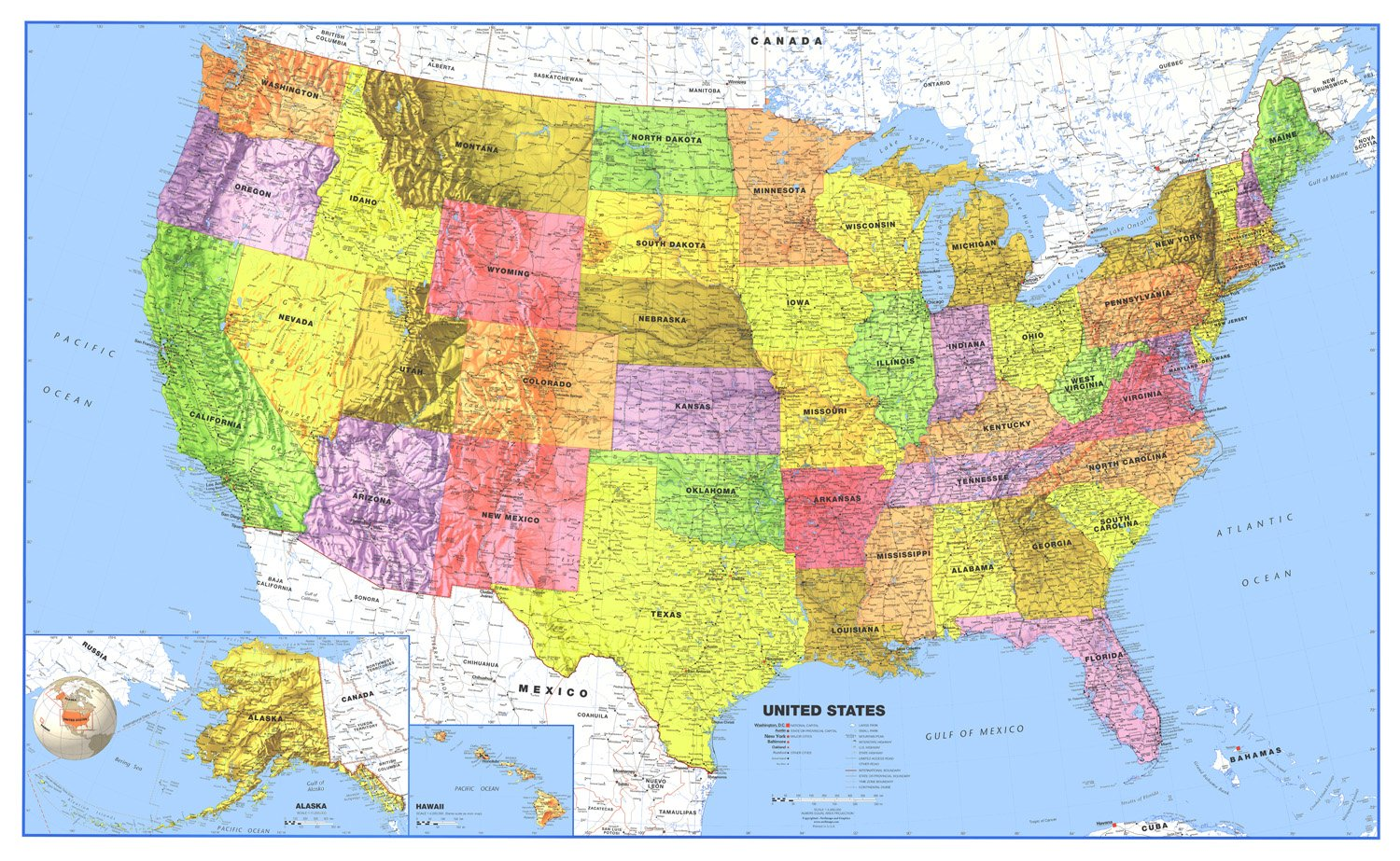 36x60 United States Classic Premier Blue Oceans 3D Wall Map Poster (36x60 Laminated) by Swiftmaps