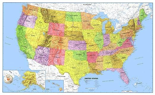 Amazon.com - 24x36 United States Classic Premier Blue Oceans 3D ...