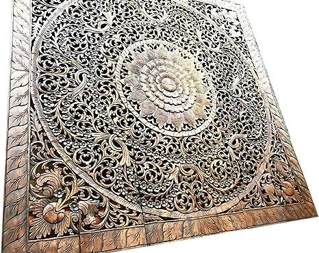 Amazon Com Mandala Headboard Queen Wood Carved Panel 60 X 60 Inches Wood Carving Panel Wood Carved Wall Art Decor 60 X 60 Inches Home Kitchen