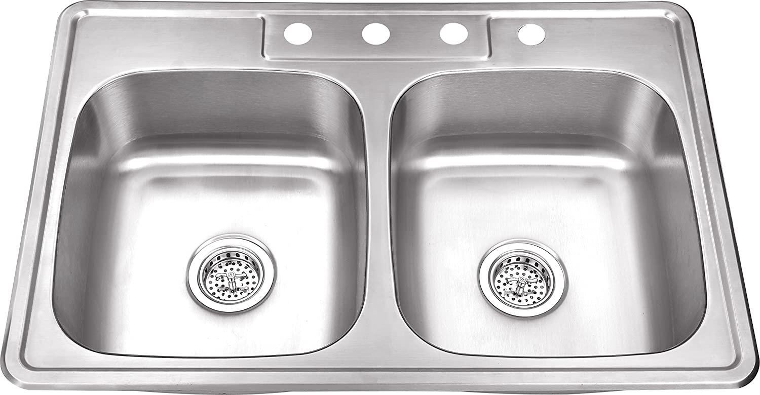 TM5050 50 50 33 x22 x8 Top Mount Drop In Stainless Steel Double Bowl Kitchen Sink