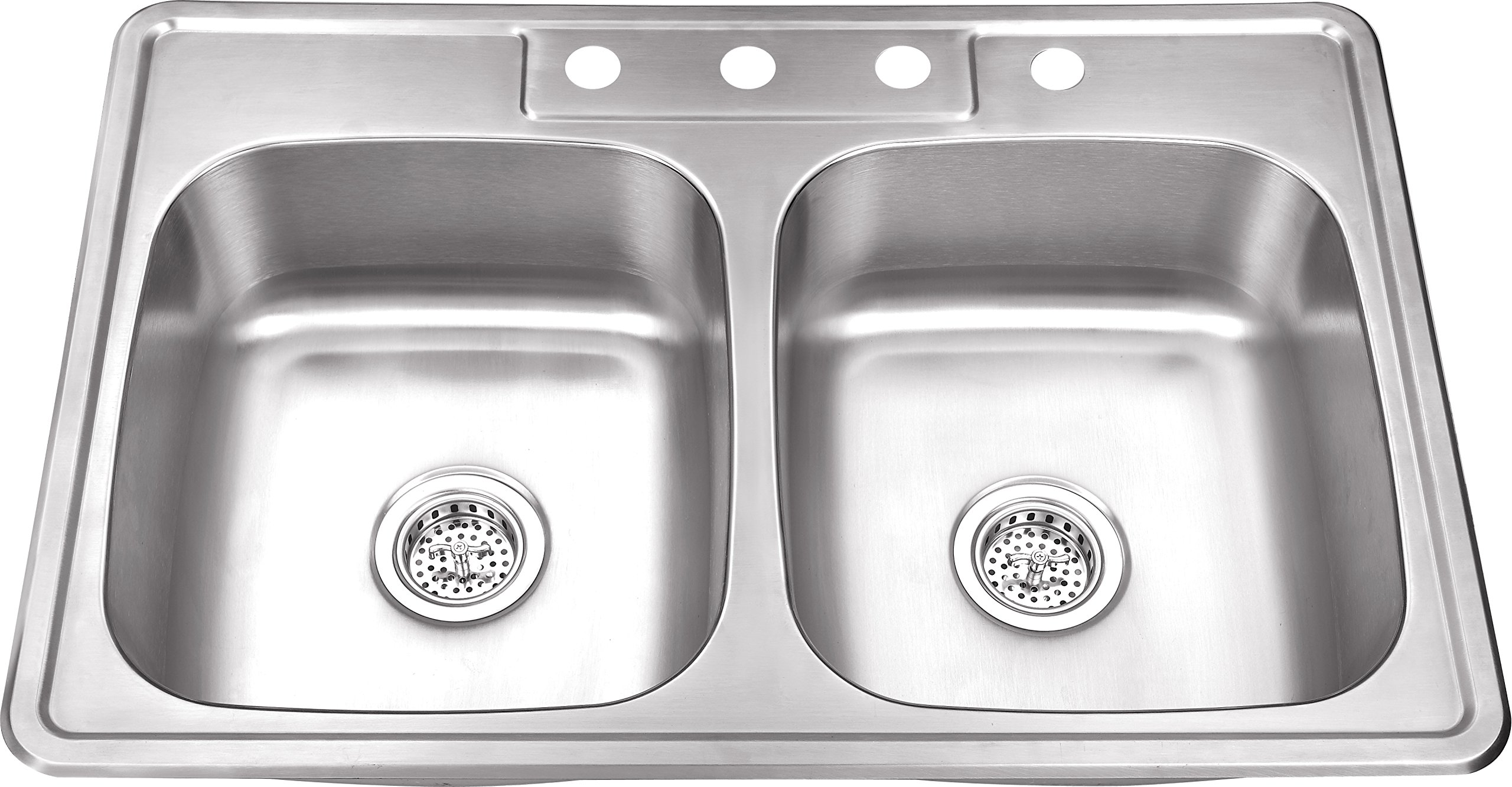 TM5050 50/50 33''x22''x8'' Top Mount/Drop In Stainless Steel Double Bowl Kitchen Sink