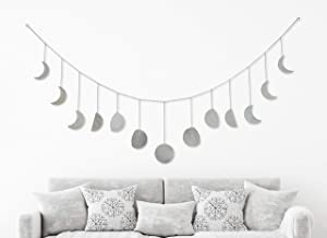 My Urban Crafts 70 Inch Moon Phase Wall Hanging Celestial Moon Cycle Banner Wall Art Moon Decor Boho Accents for Bohemian Room Headboard Apartment Dorm Nursery Living Room Bedroom (Silver Metal)