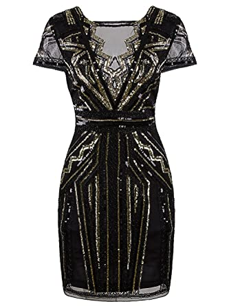 Vikoros 1920s Short Prom Dresses V Neck Inspired Sequins Cocktail Flapper Dress