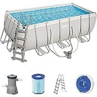 Bestway Power Steel Juego de piscinas de marco de acero con bomba de filtro y accesorios, rectangulares, 8124 litros…