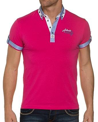 486d0d0cf6f5 BLZ Jeans - Polo Homme Fushia Coupe Slim - Couleur  Rose - Taille  XXXXL