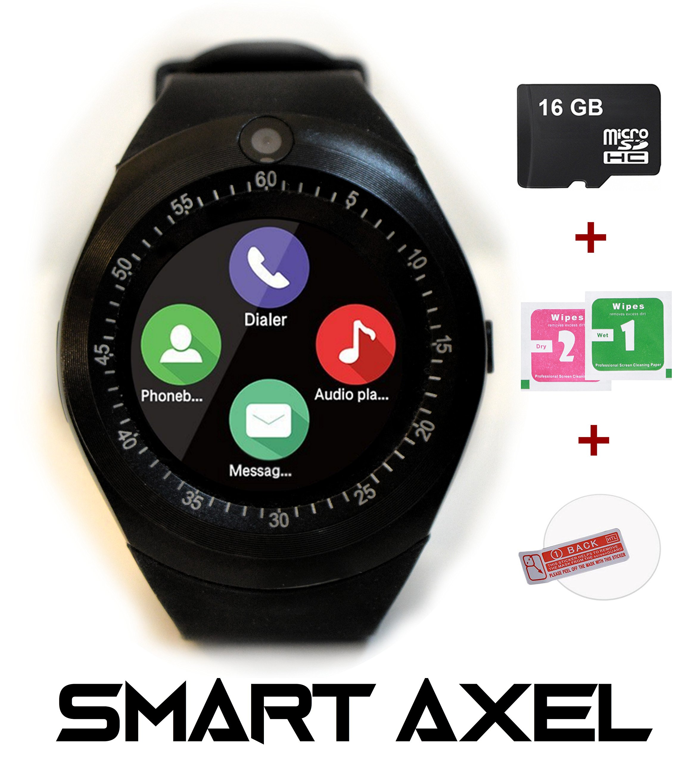 Smart Axel Luna Bluetooth Smartwatch with Built in Camera and Touch Screen Cell Phone SIM Card Slot designed for Android phones for Men Women Kids Boys Girls + 16GB SD memory card (Black)