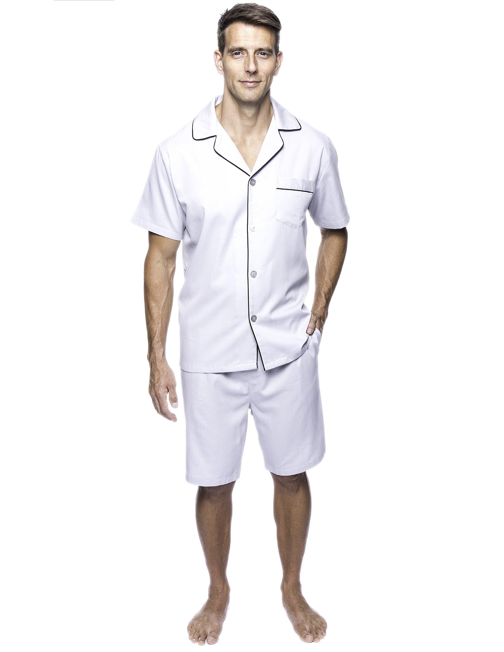Noble Mount Twin Boat Men's Cotton Short Pajama Set - Light Grey - X-Large