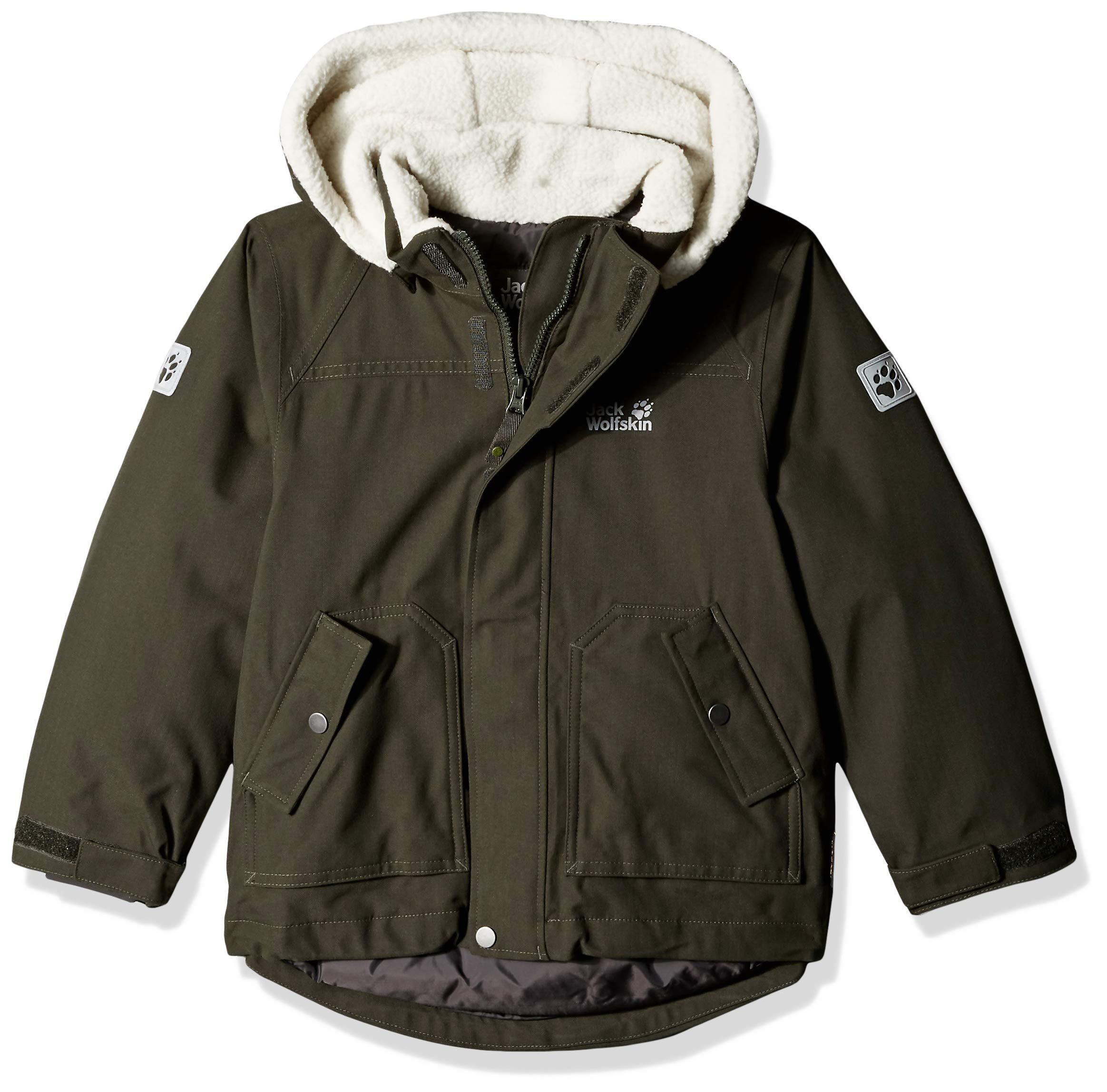 Jack Wolfskin Boy's Great Bear Waterproof Sherpa Insulated Jacket, Malachite, Size152(11-12)
