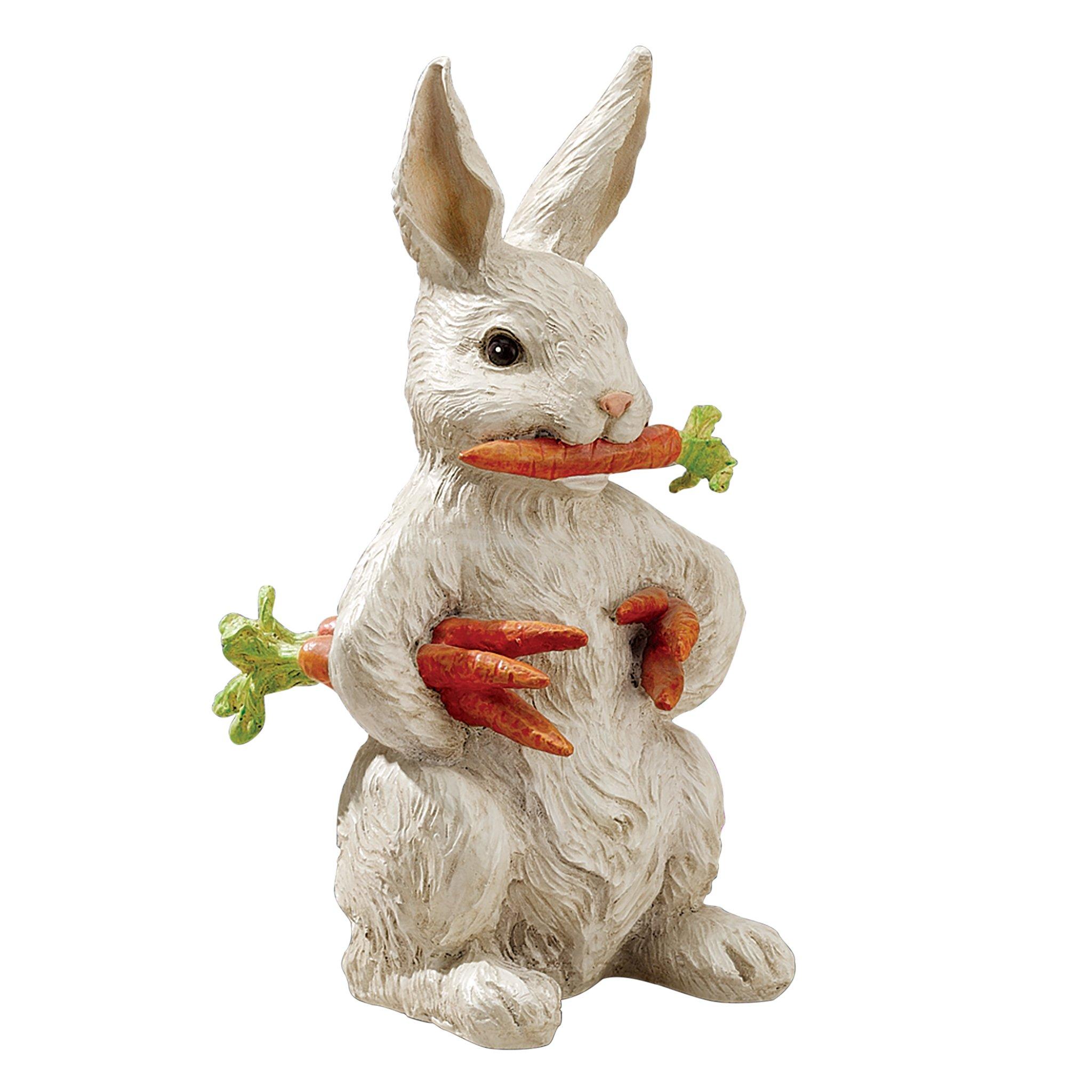 Design Toscano EU1054 Carotene The Rabbit with Carrots Easter Decor Garden Statue, 12 Inch Full Color