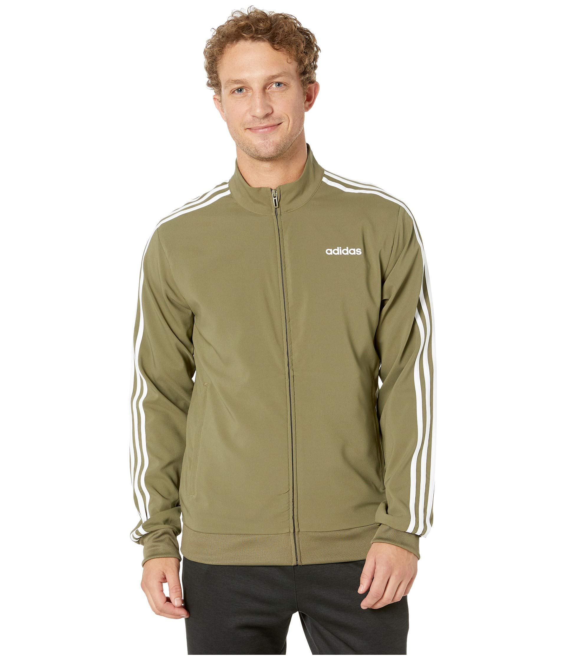 adidas Men's Essentials 3-Stripes Woven Track Jacket, Raw Khaki/White, Large by adidas