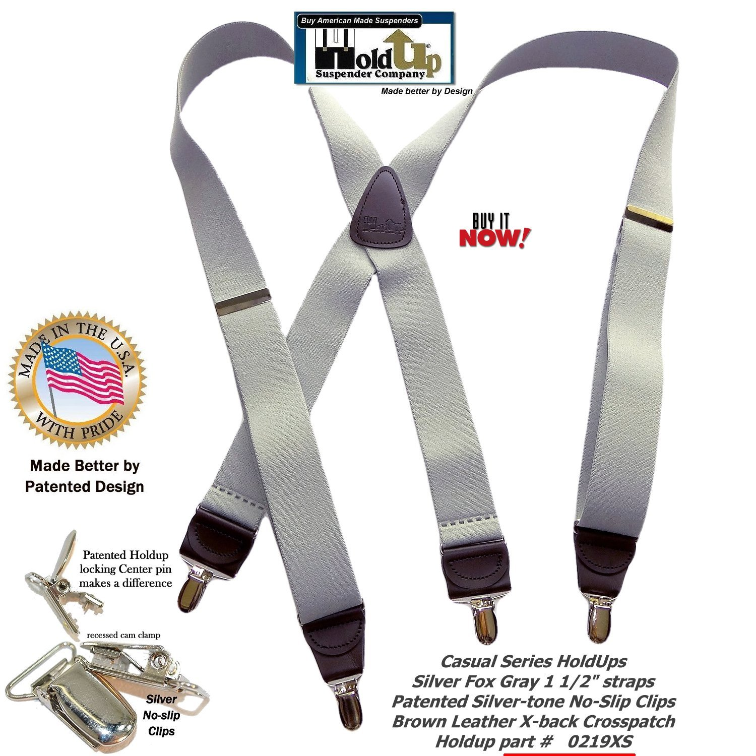 HoldUp Brand Silver Fox Gray X-back Suspenders are 1 1/2'' Wide with patented No-slip Silver-tone Clips by Hold-Up Suspender Co. (Image #2)