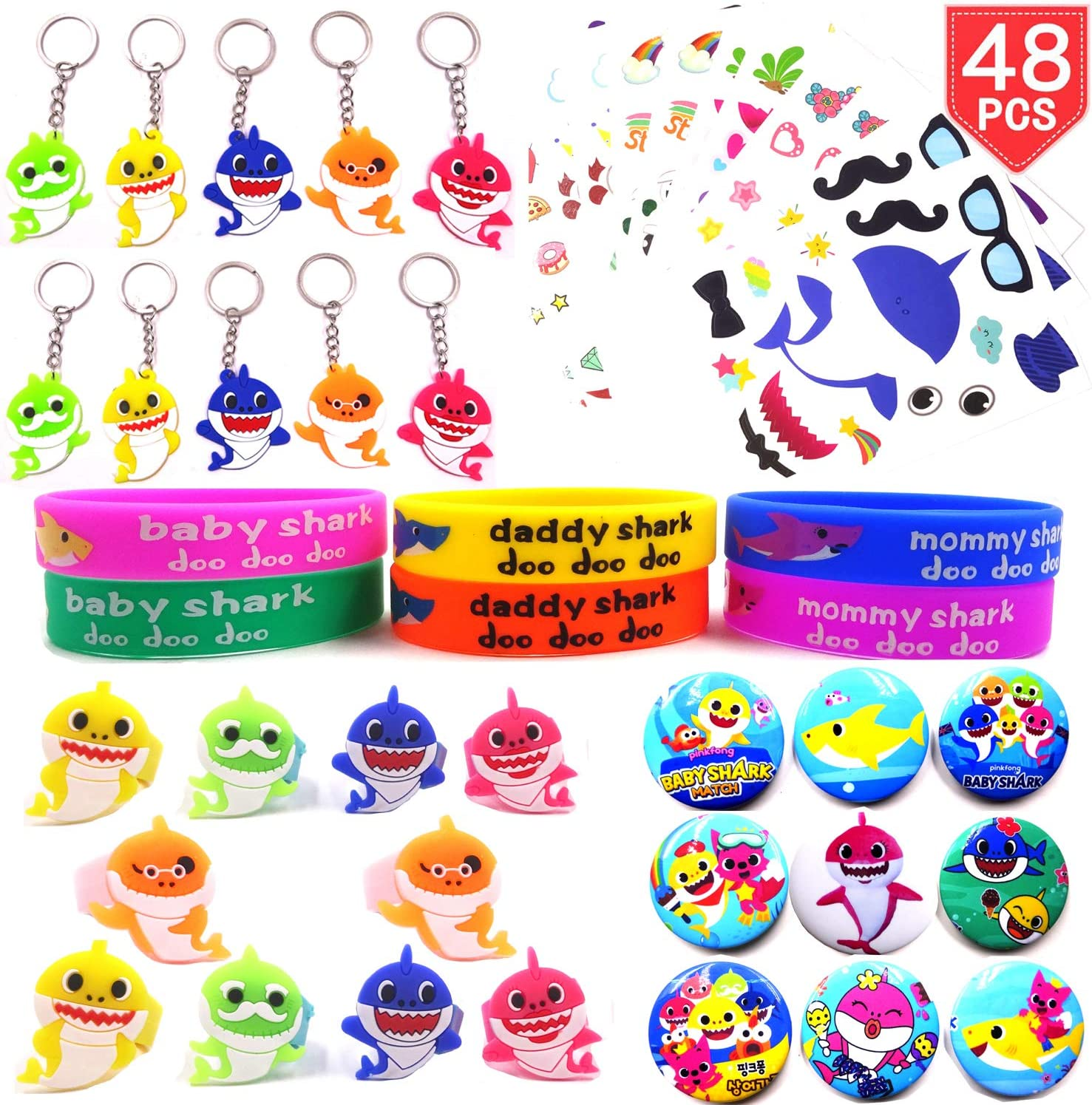Baby Shark Party Favors Supplies, 48pack Shark Themed Birthday Party Gift Fillers with Rubber Bracelets, Keychains, Necklace, Badge and Sticker Tattoo for Kids Birtday Party Decoration