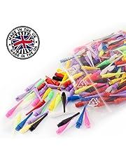 1000 bunte & langlebige Profi Dartspitzen - kurz & stabil - kleines Gewinde 2BA - mindestens 6 verschiedene, peppige Farben für E-Dart / Soft Dart Scheiben
