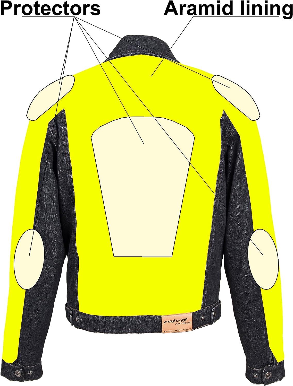 Gr/ö/ße XXL schwarz ROLEFF RACEWEAR RO1514 Jeans Motorradjacke mit Aramideinlagen /& Protektoren