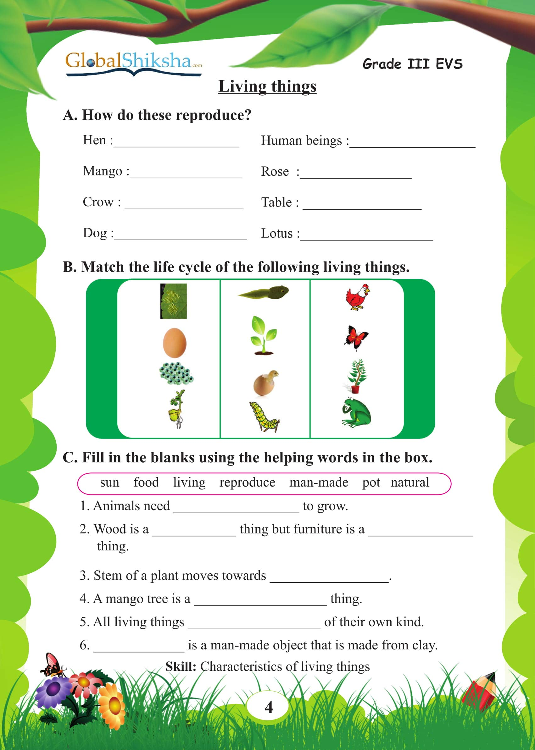 Buy GlobalShiksha EVS Worksheets For Class 3