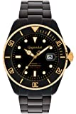 "Gigandet Herren Automatik-Armbanduhr ""Sea Ground"" Analog Edelstahlarmband Schwarz Gold G2-014"