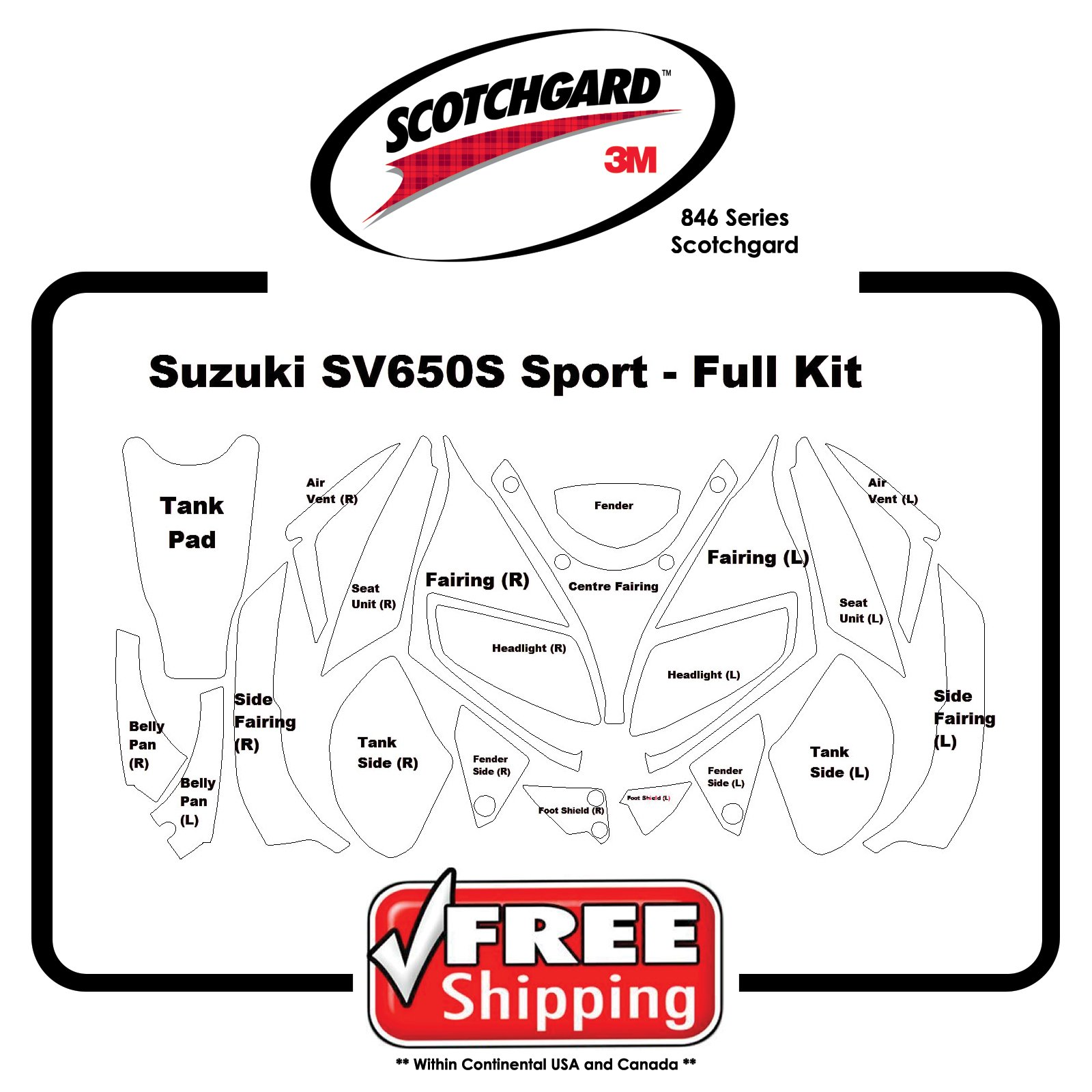 Kit for Suzuki SV 650 S Sport 06 - 3M 846 Series Scotchgard Paint Protection